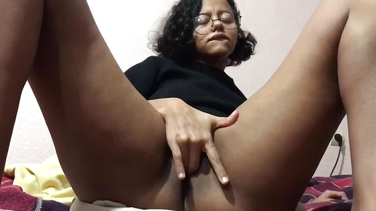 Horny Ebony Student Fingers Wet Pussy