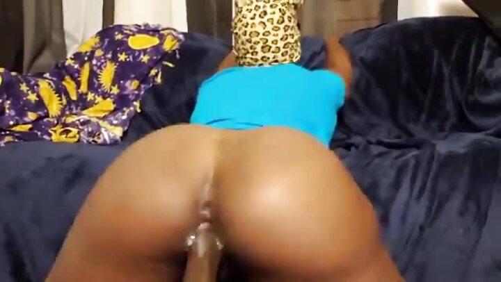 Thick Ass Black Girl Creamy Pussy Riding Dildo